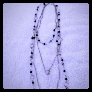 Lot of two black beaded necklaces